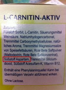 "L-Carnitin-Aktiv vom Aldi mit dem Süßstoff ""Aspartam"""